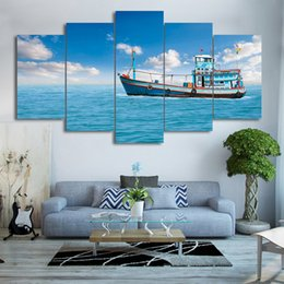 Wholesale abstract sky painting canvas - Modern Wall Art Frame HD Printed Photo 5 Piece Sailing Fishing Boat Poster Canvas Painting Home Decor Blue Sky Sea View Pictures