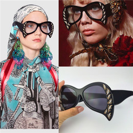 latest prints Promo Codes - The women latest sunglasses special design exquisite print frame fashion avant-garde style top quality UV protection cat eyes style 0143