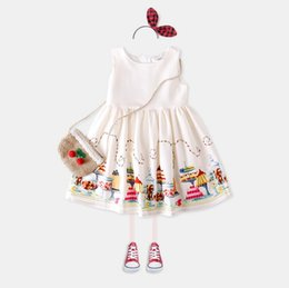 Wholesale Girls Tweed Dress - summer European and American girl cotton baby children dress positioning skirt vest skirt wt804