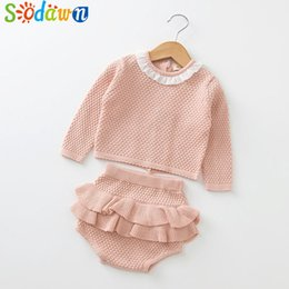 5b1eed298f590 kids designer clothes Spring Autumn Fashion Newborn Baby Clothes Long  Sleeve Knit Sweater+Shorts Sets of Children Baby Clohting Set