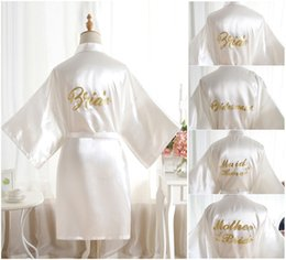 21f5f9a1f0 Sexy Large Size Sexy Satin Night Robe Bathrobe Perfect Wedding Bride  Bridesmaid Robes Dressing Gown For Women Golden Word robes