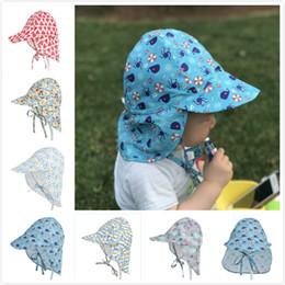Wholesale brim design - Baby Kids Hats Infant Summer Sun Neck Ear Protection Visor Cartoon Floral Print Big Brim Caps Breathable Cap 6 Designs