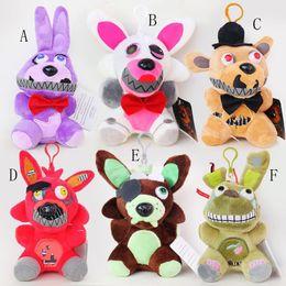 foxy brinquedo de pelúcia Desconto 6 estilos Dos Desenhos Animados Cinco Noites em brinquedos de pelúcia de Freddy Bonnie / Foxy / Freddy FNAF Animais De Pelúcia 15-18 CM keychain EMS frete grátis C4873