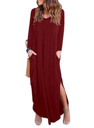 bce67d4833 Vestido de casa con cuello en v suelto manga larga dividida incluso la  falda de la prenda de vestir vestidos de fiesta en la playa N3-010