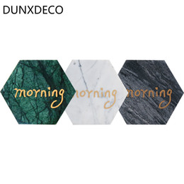 Wholesale Green Coffee Table - DUNXDECO Coffee Cup Pad Set Marbling white Black Green Geometric Morning Hexagon Table Mat Desk Accessories Modern Art Decor 3PC