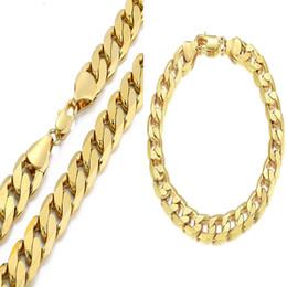 Brand New Hiphop Corde Collier Pour Hommes 12 MM Largeur Bracelets Lourds 18 K Plaqué Or Beaux Bijoux Ensembles En Gros Chaîne Cubaine Lien Livraison Gratuite ? partir de fabricateur