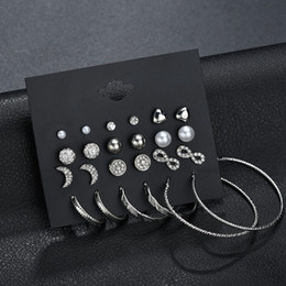 Серьги с бриллиантами онлайн-Diamond Стад серьги комплект ювелирных изделий ассорти многоходовыми шар прозрачный кристалл большой Хооп серьги для женщин перевозка груза падения поддержки ФБА H408R