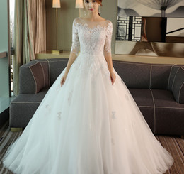 korean dressing styles images 2018 - 2018 Customized Collection Bateau A-Line Lace Wedding Long Sleeve Gown Dress Floor-length Tulle Wedding Ball Gown Dress Korean Style W01A