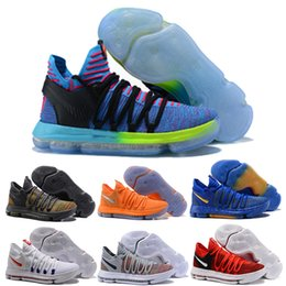 Wholesale Kd Sneakers Kids - Kevin Durant 10 X Elite Anniversary PE Oreo Blue Mens Shoes High Quality Zoom KD 10 Kids School Sport Sneakers