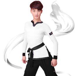 2018 Camisas de baile latino Hombres de manga larga V cuello Tops Ballroom Shirt Competencia Ropa de baile desde fabricantes