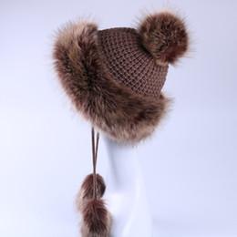 Wholesale Ushanka Fox - Wholesale- Women Bomber Hats Faux Fox Fur Russian Ushanka Fluffy Pompom Earflap Winter Warm Caps Wool Knitted Tassels Trapper Cossack