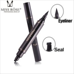 Wholesale Pen Seal - Miss Rose Stamp Eyeliner & Seal Pencil Professional Eye Makeup Tool Double Heads Two Heads Eyeliner Pen 100pcs DHL free shipping 60pcs