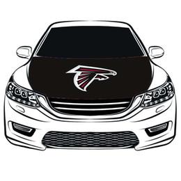 Latas de bandera online-La cubierta del capó del coche de la bandera de los Atlanta Falcons 3.3X5FT, la bandera del motor, las telas elásticas se pueden lavar