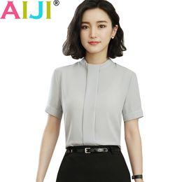 2fa5b73814192 2018 summer fashion Sexy o-eck shirt women OL Career temperament formal  short sleeve chiffon blouse office ladies plus size tops