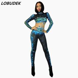 pietre di piombo Sconti Fiamma blu Tuta di pietra scintillante body sexy Body elastico Lead dance cantante discoteca costumi di scena DJ show outift