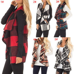 Женщины лацкане плед кардиган карманный дизайнер жилет пальто нерегулярные рукавов куртки открытой передней блузки верхней одежды жилет Женские пальто 5 цветов от