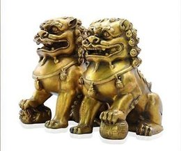 Statue de chien en bronze en Ligne-Collectibles Chinese fengshui Bronze Guardian Door Phylactery Foo Dog Lion Statue Pair