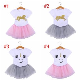 Wholesale baby tulle tutu skirt - INS Unicorn Kids Baby Girls Outfit Clothes Cartoon T-shirt Tops & girls Tutu Tulle Skirt Dress girls suits Clothes 2pc Sets 6style choose