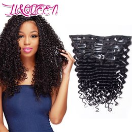 Wholesale Virgin Hair Deep Wave Clips - Virgin Peruvian Hair Extension Deep Wave Curly 140g 7Pcs set Clip In Hair Extensions 140g 10-28inch Available Natural Color From LiQueen