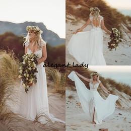 vestido celta barato Desconto Rústico V Neck Lace País Vestidos de Casamento 2019 Barato Cap Manga Aberta Voltar Bohemian Wedding Dress Winter Celtic Vestidos de Noiva