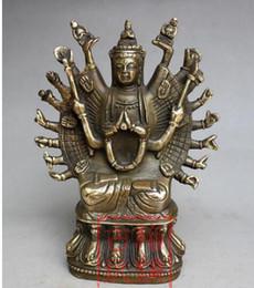 Estatuas de imitación online-Elaborada colección de antigüedades chinas, imitación antigua, estatua del bodhisattva de las mil manos.