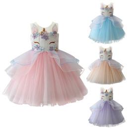 Wholesale birthday pettiskirt - Lovely Baby Girl Unicorn Dress Fashion Embroidery Flower Princess Dresses cute birthday kids Party Dress wedding dress Pettiskirt 2018 New