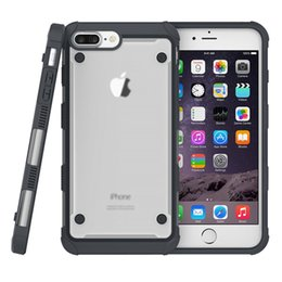 Wholesale Transparent Shockproof Iphone Bumper - Shockproof TPU Bumper Secure Glip Transparent PC Cover Anti Skid Full Protect Case For IPhone 7 6s 6 plus oppbag