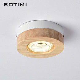 Wholesale 12v ceiling lamp - BOTIMI Modern LED Ceiling Lights Wooden Ceiling Lamp For Corridor Square Round Wood Kitchen Lights Small Surface Mounted Lamp