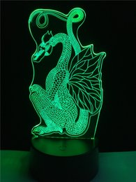 Wholesale Chinese Touch Lamps - Chinese Style Paper Cut Dragon Color Change 3D Night Light Colors Changing Table Desk Lamp Decoration USB Touch Sensor Lamp