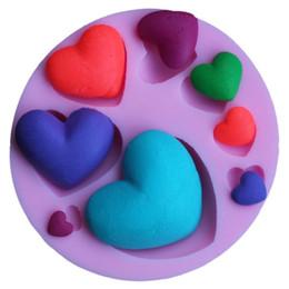 Herramientas del corazón online-Pink Love Heart Model Chocolate Mold Safety Horno de cocción resistente a altas temperaturas Redondo Eco Friendly Kitchen Tools 2 7dy B