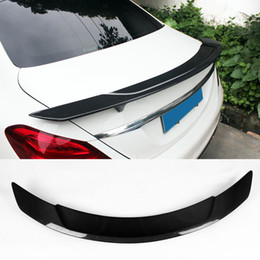 carbon fiber lips Promo Codes - RT Styling Carbon Fiber Glossy Car Trunk Rear Spoiler Wings Lip For Benz C-class W205 Spoiler C200 C250 C300 4-Door 2015-2017