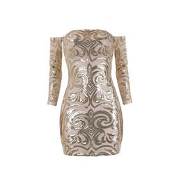 Wholesale Nude Sequin Mini Dress - Hot Sale Women Bodycon Dress strapless mini Sexy Club Dress 2018 champage Gold Nude Sequin Dress