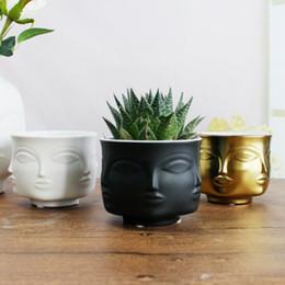 металлические плантаторы Скидка Человек лицо ВАЗа украшения дома аксессуары современная керамическая ваза