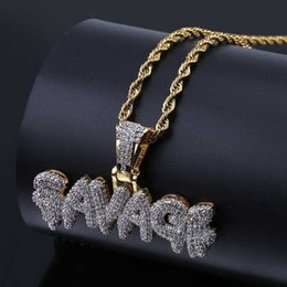 Wholesale initial gold - Men's Iced Out SAVAGE Pendant Necklace Gold Color Plated Micro Pave AAA Cubic Zircon Hip Hop Gold Chain Jewelry Gifts