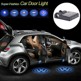 Wholesale Led Courtesy Light Logo - 4PCS Cooleeon Wireless Car Brands Logo 3D Laser Projector Bulb Car Door Light Welcome Lamp Auto Courtesy LED Decoration Lights