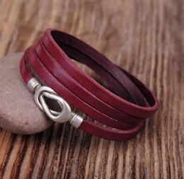 Wholesale Purple Leather Infinity Bracelet - whole saleG324 Purple Cool Alloy Infinity Clasp Leather Multi Wrap Bracelet Cuff Men's New