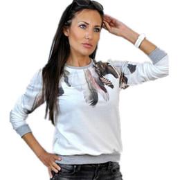 2019 imprimir puentes envío gratis Sudaderas con capucha casuales para mujer Sudadera con estampado de plumas Jersey con capucha Sudadera con capucha de manga larga Sudadera Harajuku Top S, M, L, XL Envío gratis imprimir puentes envío gratis baratos