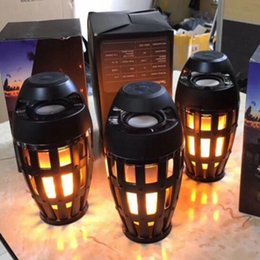 Wholesale Mobile Phone Torch Light - Hot Led flame speaker Torch atmosphere Wireless speakers Outdoor Portable Stereo Speaker Flickering Flame Night Light Lamp Speaker