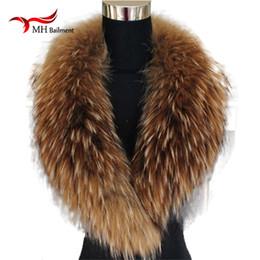 2020 clips de zorro Color natural Mapache Fox Real Fur bufanda de cuello Genuino Tamaño grande Bufandas Warp Shawl Neck Warmer Stole Muffler with Clip Loops # 6 D18102406 clips de zorro baratos
