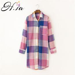 Wholesale Wholesale Linen Clothing Women - H.SA 2017 Autumn Blusas Women Plaid Shirt Tops Korean Long Sleeve Linen Blouses Loose Casual Long Shirt Cheap Clothes China