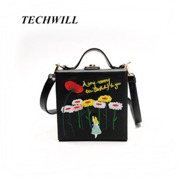Wholesale flowers alice - PU Embroidery Cartoon Flower Alice Princess Women Shoulder Handbags Mini Crossbody Bags Evening Totes Bag Box Clutch Purse