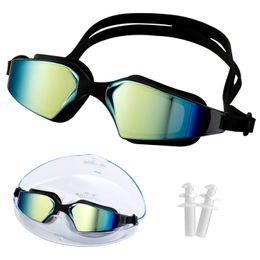 Argentina Gafas ajustables ULTRAVIOLETA profesionales de la nadada de la protección de la galjanoplastia de la niebla, gafas de la natación, con los auriculares para las mujeres de los hombres Gafas impermeables negras cheap swimming ear plugs Suministro