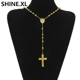 bead necklace gold balls Promo Codes - Hip Hop Iced Out Long Rosary Necklaces Bead Chain Cross Pendant Gold Color Catholic Church Ball Jewelry