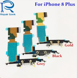 Wholesale Dock Connector Port Iphone Parts - New High Quality Charger Charging Port Dock USB Connector Flex Cable Replacement For iPhone 8 Plus 5.5 inch Flex Ribbon Repair Parts