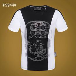 Camisas de algodão branco liso on-line-Impresso Phillip Planície 2019 verão Novo de Alta qualidade homens T camisa ocasional de manga curta o-pescoço 100% algodão t-shirt da marca branca Crânio tee camisa