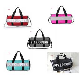 Wholesale Fashion Totes Wholesale - Men Women Handbags Pink Letter Large Capacity Travel Duffle Striped Waterproof Beach Bag Shoulder Bag Exercise Gym Bags