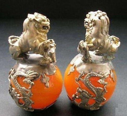 Wholesale Brass Dog Statue - A PAIR CHINESE CARVED JADE & SILVER DRAGON FOO DOGS STATUE