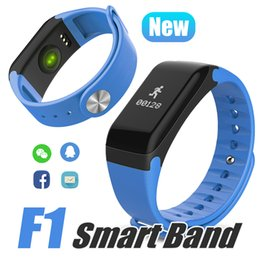 Wholesale Step Boxes - F1 HR Smart Bracelet Step Counter Activity Monitor Fitness Tracker Boold Pressure Wristband Waterproof Activity Tracker For With Retail Box