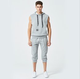 Wholesale Men Sleeveless Sweaters - Men's Sweater Suit Mens Sleeveless Hooded Cardigan Casual Suit Mid-Carf Pants Men Tracksuits