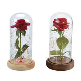 Wholesale Dome Base - WR Beauty Beast Red Rose in a Glass Dome on a Wooden Base for Valentine's Gifts 0708174